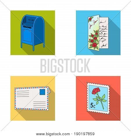 Mailbox, congratulatory card, postage stamp, envelope.Mail and postman set collection icons in flat style vector symbol stock illustration .