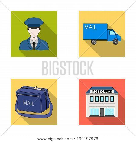 The postman in uniform, mail machine, bag for correspondence, postal office.Mail and postman set collection icons in flat style vector symbol stock illustration .