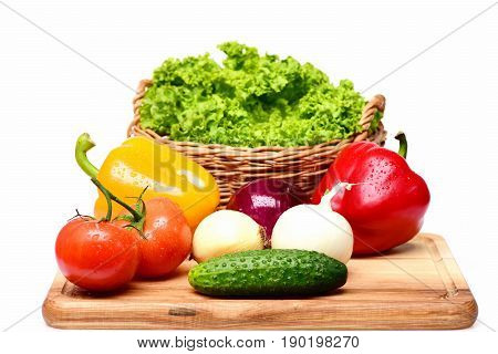 Nutrition Concept, Fresh Vegetables On Cutting Board