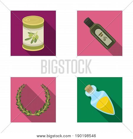 A can of canned olives, a bottle of oil with a sticker, an olive wreath, a glass jar with a cork. Olives set collection icons in flat style vector symbol stock illustration .