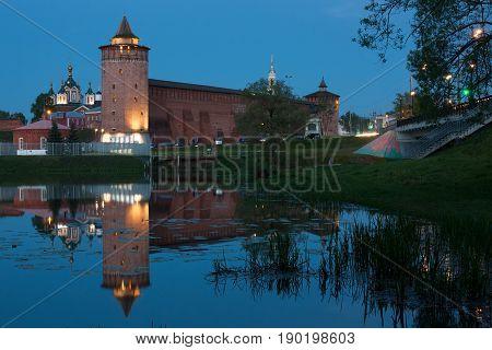 Marinkin Tower Of Kremlin. View From River Kolomenka In Kolomna Moscow Region. In Blue Hour Of Evening.