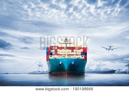 Logistics and transportation of International Container Cargo ship and cargo plane in the ocean at twilight sky Freight Transportation Shipping