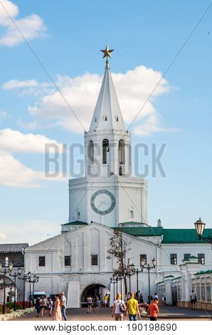 Kazan, Russia - August 5, 2016: Spasskaya Tower Of Kazan Kremlin