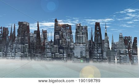 Alien City - fantasy urban structures 3d render