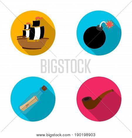 Pirate, bandit, ship, sail .Pirates set collection icons in flat style vector symbol stock illustration .