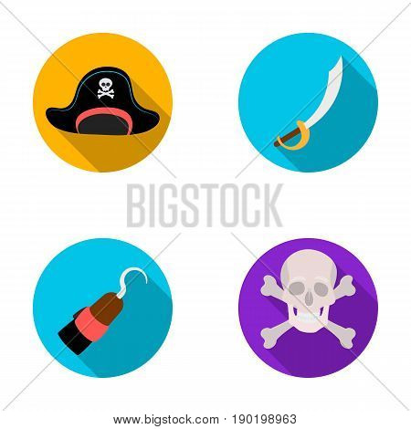 Pirate, bandit, cap, hook .Pirates set collection icons in flat style vector symbol stock illustration .