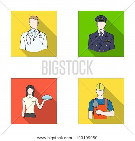 The doctor, the pilot, the waitress, the builder, the mason.Profession set collection icons in flat style vector symbol stock illustration .