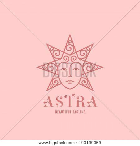 Astra Abstract Vector Sign, Emblem or Logo Template. Star Silhouette as a Beautiful Woman Face with Curly Hair. Line Style Symbol with Modern Typography. Pink Background.
