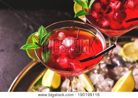 Strawberry Daiquiri Cocktail With Lime, Strawberry, Cherry And Mint