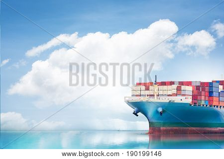 Logistics and transportation of International Container Cargo ship in the ocean Nautical Vessel