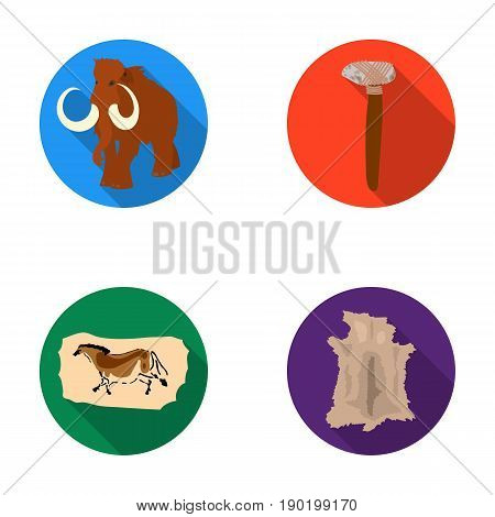 Primitive, mammoth, weapons, hammer .Stone age set collection icons in flat style vector symbol stock illustration .