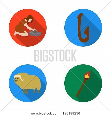 Cattle, catch, hook, fishing .Stone age set collection icons in flat style vector symbol stock illustration .