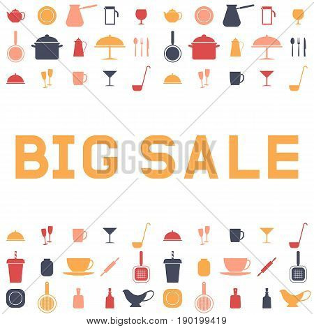 Big sale ware. Design an advertising flyer or banner. Vector illustration. Flat style.