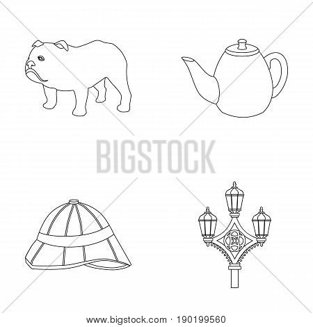 breed dog, teapot, brewer .England country set collection icons in outline style vector symbol stock illustration .