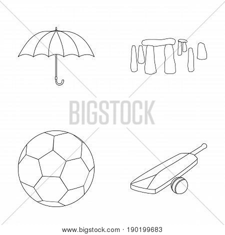 Umbrella, stone, ball, cricket .England country set collection icons in outline style vector symbol stock illustration .