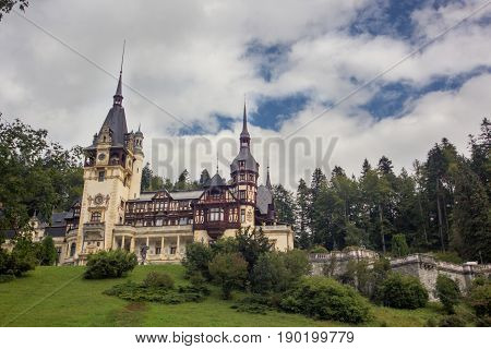 beautiful view at the Peles Castle Sinaia Romania Europe. summer cloudy sky. front view