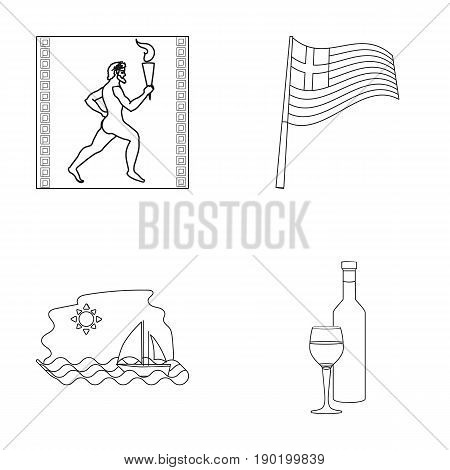 Greece, running, wine, flag .Greece set collection icons in outline style vector symbol stock illustration .