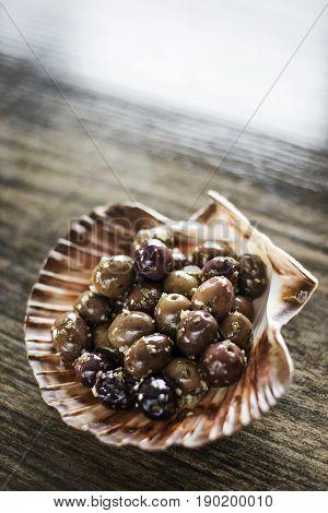 gourmet garlic and herb marinated fresh olives tapas snack starter