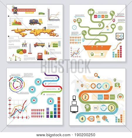 Infographics Elements Symbols Icons Retro Style Design Template on Stylish Abstract Background Vector Illustration