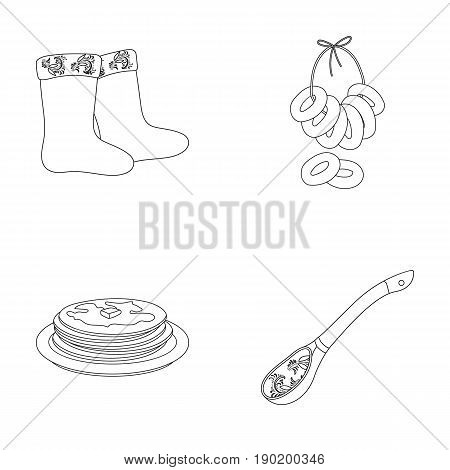 Felt, boots, drying, gingerbread .Russia country set collection icons in outline style vector symbol stock illustration .