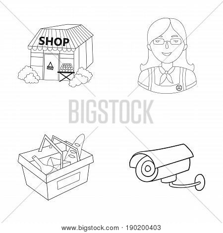 Salesman, woman, basket, plastic .Supermarket set collection icons in outline style vector symbol stock illustration .