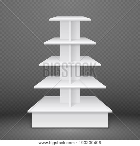 White exhibition stand with square shelves, retail advertising product display. Mock up rack shop to promotion supermarket, vector illustration