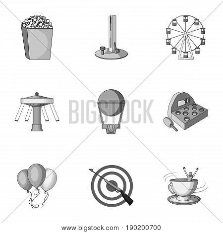 The amusement Park rides. The attributes of a recreational Park, panic room, cotton candy.Amusement Park icon in set collection on monochrome style vector symbol stock  illustration.