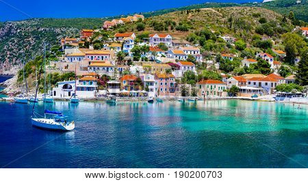 Colorful Greece series - beautiful coastal town Assos in Kefalonia . Ionian islands