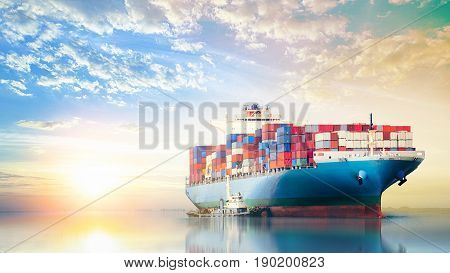 International Container Cargo ship in the ocean at sunset sky Freight Transportation Nautical Vessel