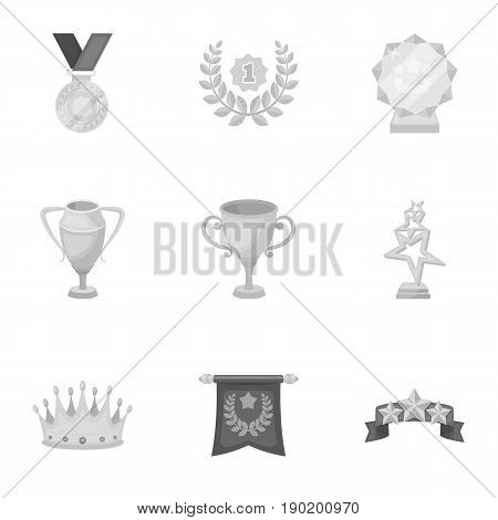 Awards, gold medals and cups as prizes in competitions and competitions. Awards and trophies icon in set collection on monochrome style vector symbol stock  illustration.