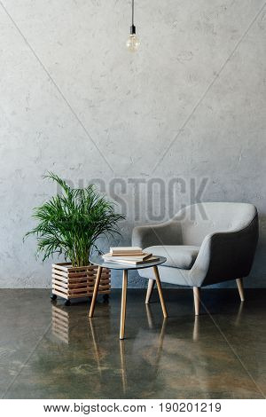 Cozy Grey Armchair With Books On Coffee Table And Green Potted Plant In Empty Room
