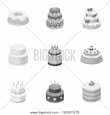 Cakes for the holidays. A set of different sweets. Beautifully decorated cakes and muffins.Cakes icon in set collection on monochrome style vector symbol stock  illustration.