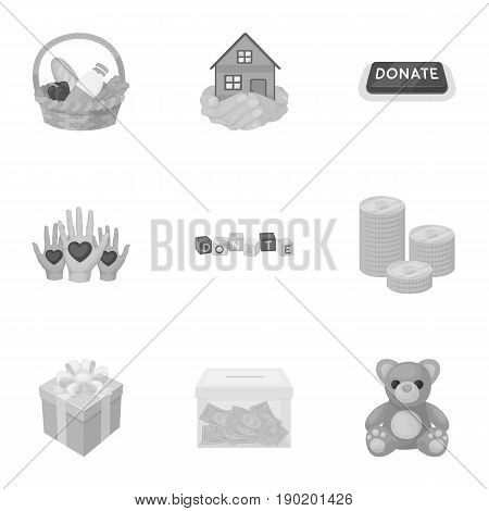 Charitable Foundation. Icons on helping people and donation.Charity and donation icon in set collection on monochrome style vector symbol stock  illustration.