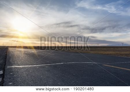 road in sunset qinghai- tibet highway background