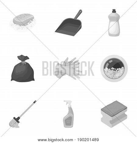 Cleaning, washing and everything connected with it. A set of icons for cleaning. Cleaning and maid icon in set collection on monochrome style vector symbol stock  illustration.