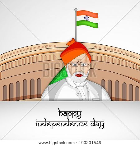 illustration of Narendra Modi and Happy Independence day text on India flag background on the occasion of Independence day