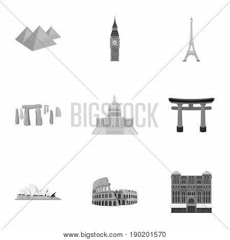 Sights of the countries of the world. Famous buildings and monuments of different countries and cities. Countries icon in set collection on monochrome style vector symbol stock  illustration.