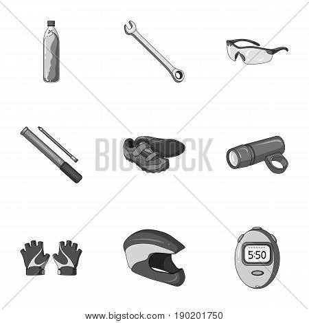 Icons of Cycling, bike. Set for bike, backpack protection, repair, form. Cyclist outfit icon in set collection on monochrome style vector symbol stock  illustration.