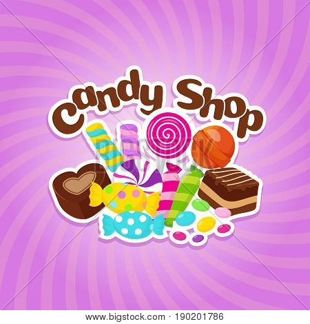 Sugar sweets vector background with colorful candies and lollipops. Sweet lollipop candy, illustration of dessert caramel delicious