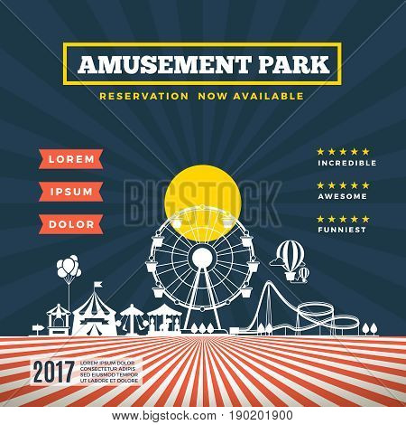 Vector amusement park theme background. Banner with carnival attraction, festival amusement park illustration