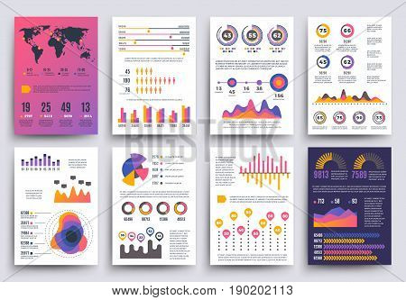 Graphical business report vector template with modern style charts and graphs. Info chart template of set, colored infographic chart and graph illustration