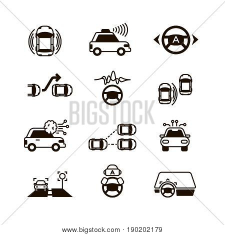 Car self control, futuristic driving intelligent vehicle systems vector icons. Smart car control, autonomous navigation for car illustration