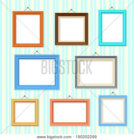 Retro picture image cartoon frames vector set. Frame for image picture, illustration of empty framework gallery
