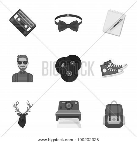 A set of icons about the style of a hipster. A peculiar youth style. Hipster style icon in set collection on monochrome style vector symbol stock  illustration.