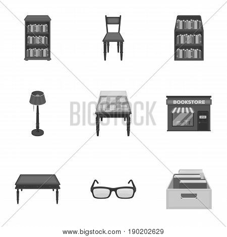 A set of icons with books. Seth about the library, reading, bookstore. Library and bookstore icon in set collection on monochrome style vector symbol stock  illustration.