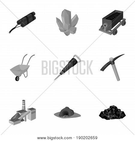 Set of icons about the mine. The extraction of coal, minerals, protection of the miners. Processing of coal.Mine industral icon in set collection on monochrome style vector symbol stock  illustration.