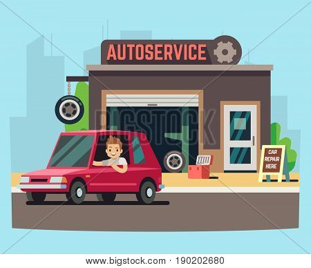 Car service station or repair garage with happy customer vector illustration. Service for repair car machine