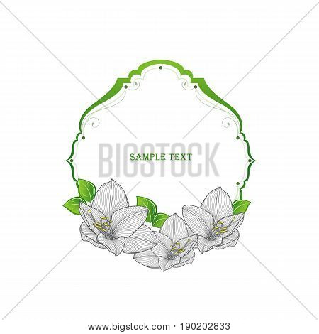 Floral frame in vintage style with hand-drawn flower amaryllis