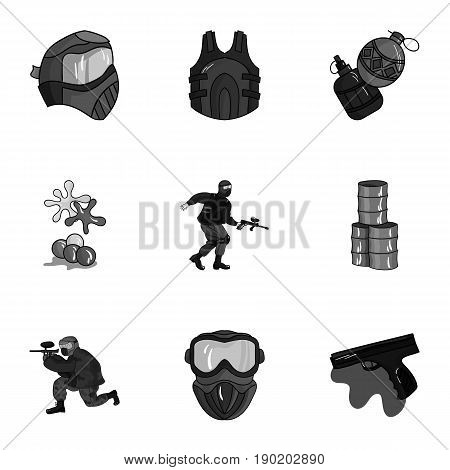 A collection of pictures about the game in paintball. The balloons with paint.Paintball icon in set collection on monochrome style vector symbol stock  illustration.