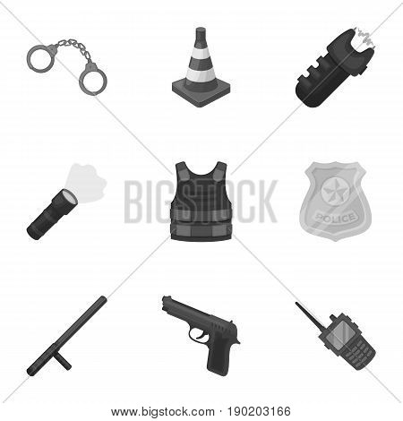 Police equipment, police, prisoners, protection of citizens.Police icon in set collection on monochrome style vector symbol stock  illustration.